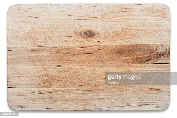 Used wooden chopping board, isolated on white, clipping path
