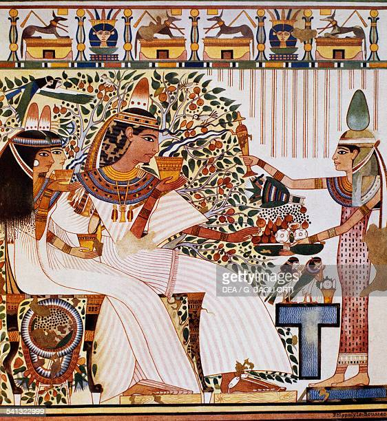 Userhat with his wife Hatshepsut and mother Twosret in front of the Sycamore Tree Goddess necropolis of Shaykh Abd ElQurna Tomb of Userhat XVIII...