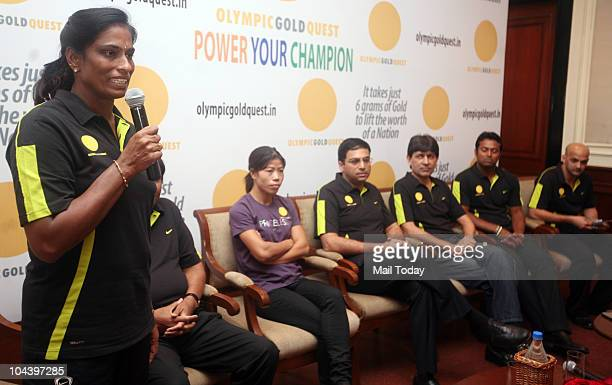 Usha MC Mary Kom Vishvanathan Anand Geet Sethi Leander Paes and Viren Rasquinha at the launch of the 'Power Your Champion' programme in New Delhi on...
