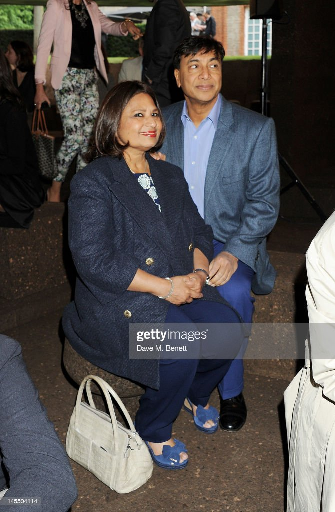Usha Mittal and Lakshmi Mittal attend a private viewing of the 2012 Serpentine Gallery Pavilion designed by Herzog de Meuron and Ai Weiwei at The...