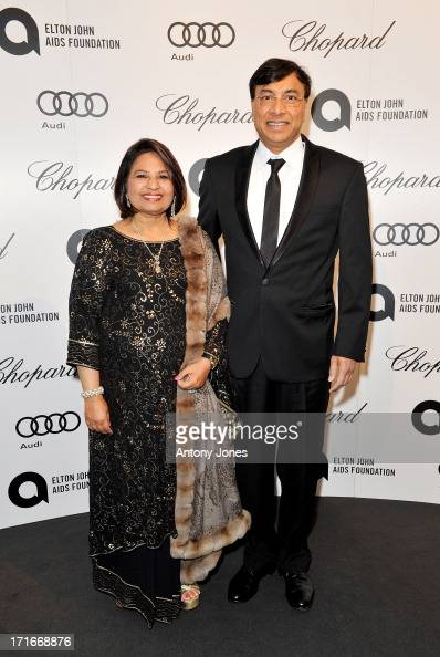 Usha Mittal and Lakshmi Mittal attend the 15th Annual White Tie and Tiara Ball to Benefit Elton John AIDS Foundation in Association with Chopard at...