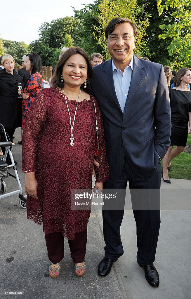 Usha Mittal and Lakshmi Mittal attend the annual Serpentine Gallery Summer Party cohosted by L'Wren Scott at The Serpentine Gallery on June 26 2013...