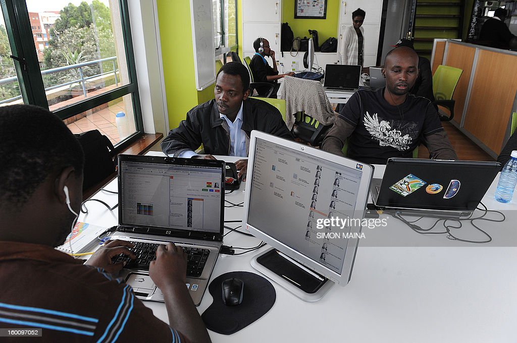 Ushahidi members, a non-profit software company, funded by several foundations, work in their offices on January 17, 2013 in Nairobi. Five years ago, a handful of bloggers invented a way to track -- and hopefully of preventing -- bloody post-election violence that hit Kenya in which over 1,100 people were killed.The group of friends that set up Ushahidi -- which means 'to witness' in Kenya's Swahili language -- have seen their concept become a worldwide success, used in conflict and disaster zones, and again in Kenya ahead of March 4 polls.