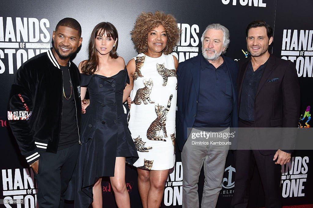Usher Ana de Armas Grace Hightower Robert De Niro and Edgar Ramirez attend the 'Hands Of Stone' US premiere at SVA Theater on August 22 2016 in New...
