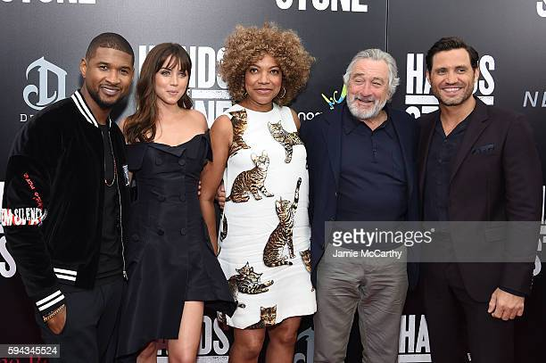 Usher Ana de Armas Grace Hightower Robert De Niro and Edgar Ramirez attend the 'Hands Of Stone' US premiere at SVA Theater on August 22 2016 in New...