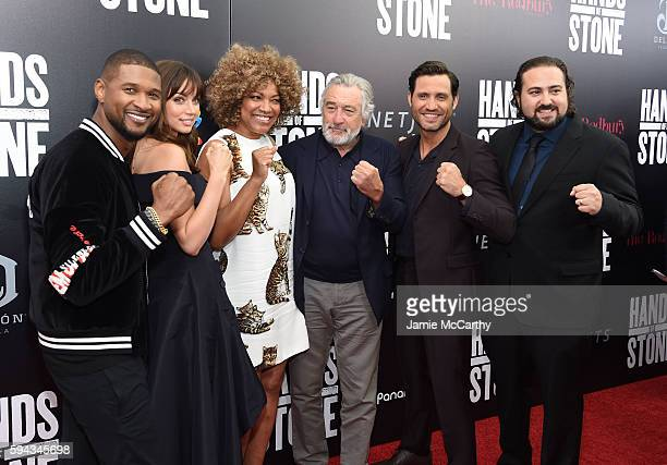 Usher Ana de Armas Grace Hightower Robert De Niro Edgar Ramirez and Jonathan Jakubowicz attend the 'Hands Of Stone' US premiere at SVA Theater on...