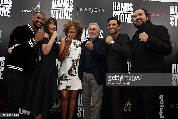 Usher Ana De Armas Grace Hightower Robert DeNiro Edgar Ramirez and Johnathon Jakubowicz attend Hands Of Stone Premiere With DeLeon Tequila SVA...