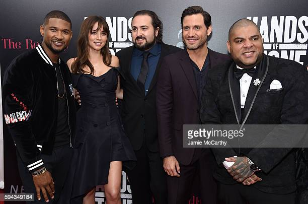 Usher Ana de Armas Jonathan Jakubowicz Edgar Ramirez and Pedro Perez attend the 'Hands Of Stone' US premiere at SVA Theater on August 22 2016 in New...