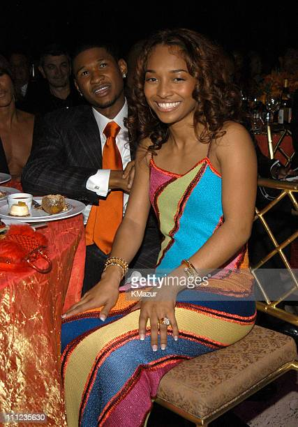 Usher and Chilli of TLC during 2003 Clive Davis PreGRAMMY Party Inside at The Regent Wall Street in New York City New York United States