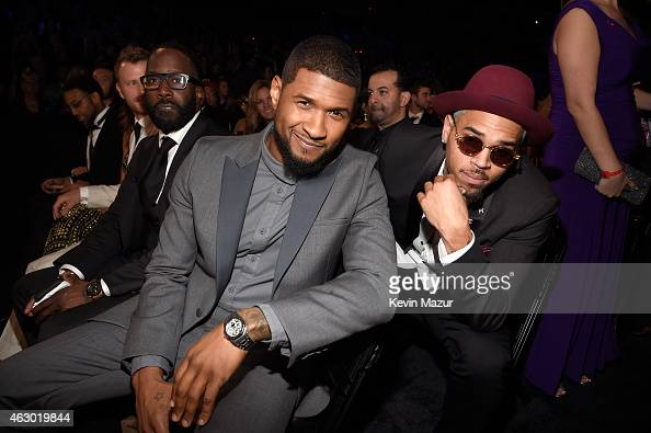Usher and Chris Brown attend The 57th Annual GRAMMY Awards at STAPLES Center on February 8 2015 in Los Angeles California