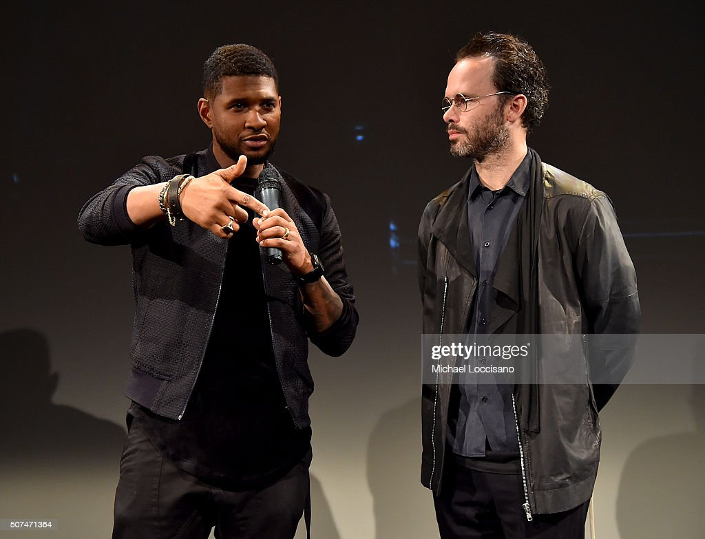 Usher (L) and Daniel Arsham onstage at Art For Social Justice, Usher Raymond IV, Daniel Arhsam and TIDAL debut Chains at Urban Zen on January 29, 2016 in New York City.