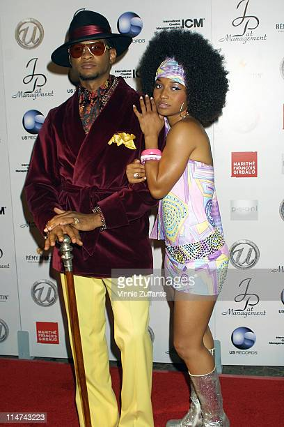 Usher and girlfriend Chili from TLC attending Usher's 25th Birthday Bash 'Flashback 1978' at Pearl in West Hollywood CA 10/19/03