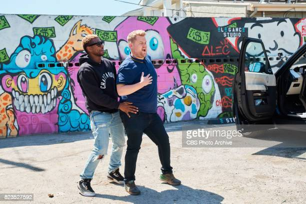 Usher and James Corden perform in Carpool Karaoke during 'The Late Late Show with James Corden' Wednesday April 5 2017 On The CBS Television Network