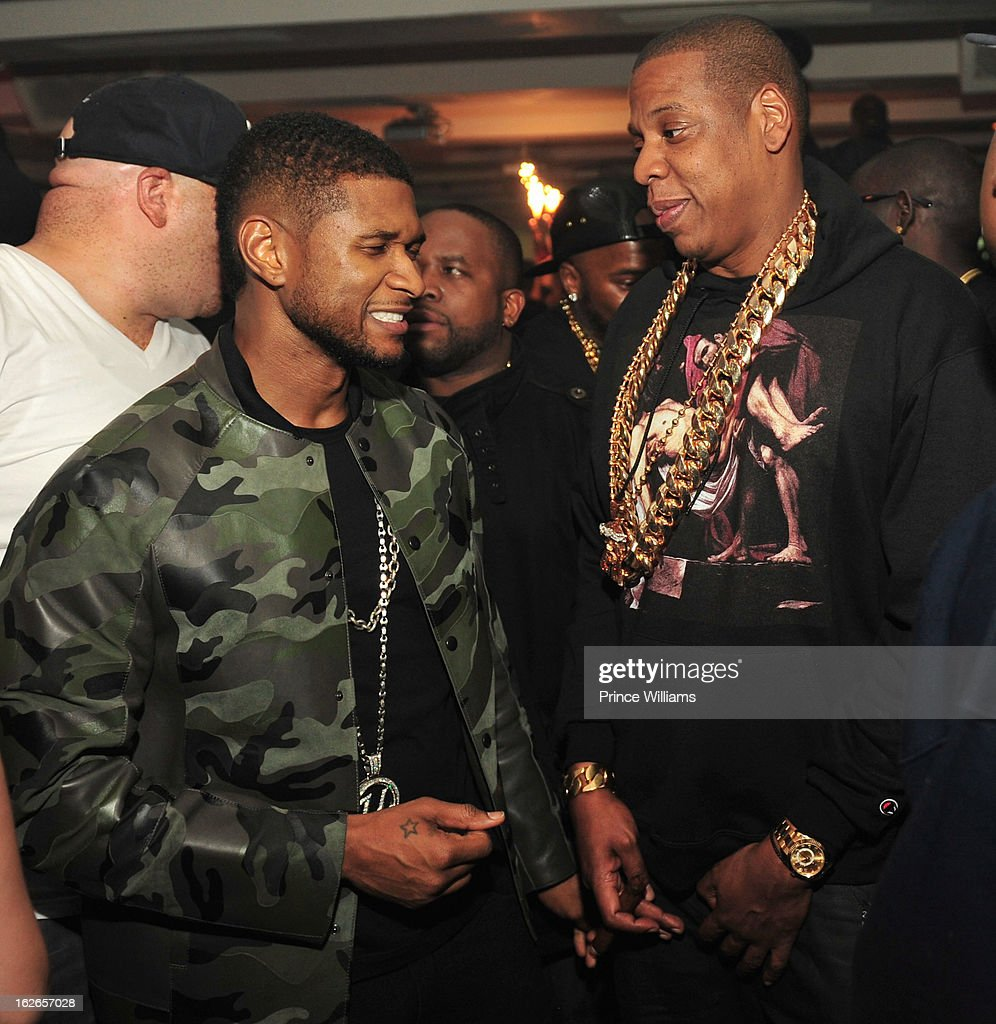 Usher and Jay-Z attend the So So Def anniversary party hosted by Jay Z at Compound on February 23, 2013 in Atlanta, Georgia.