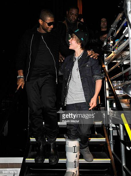 NEW YORK DECEMBER 11 *EXCLUSIVE* Usher and Justin Bieber attends Z100's Jingle Ball 2009 presented by HM at Madison Square Garden on December 11 2009...