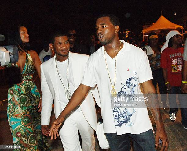 Usher and Kanye West during HOT 1079 Birthday Bash 10 at HiFi Buys Amphitheater in Atlanta Georgia United States