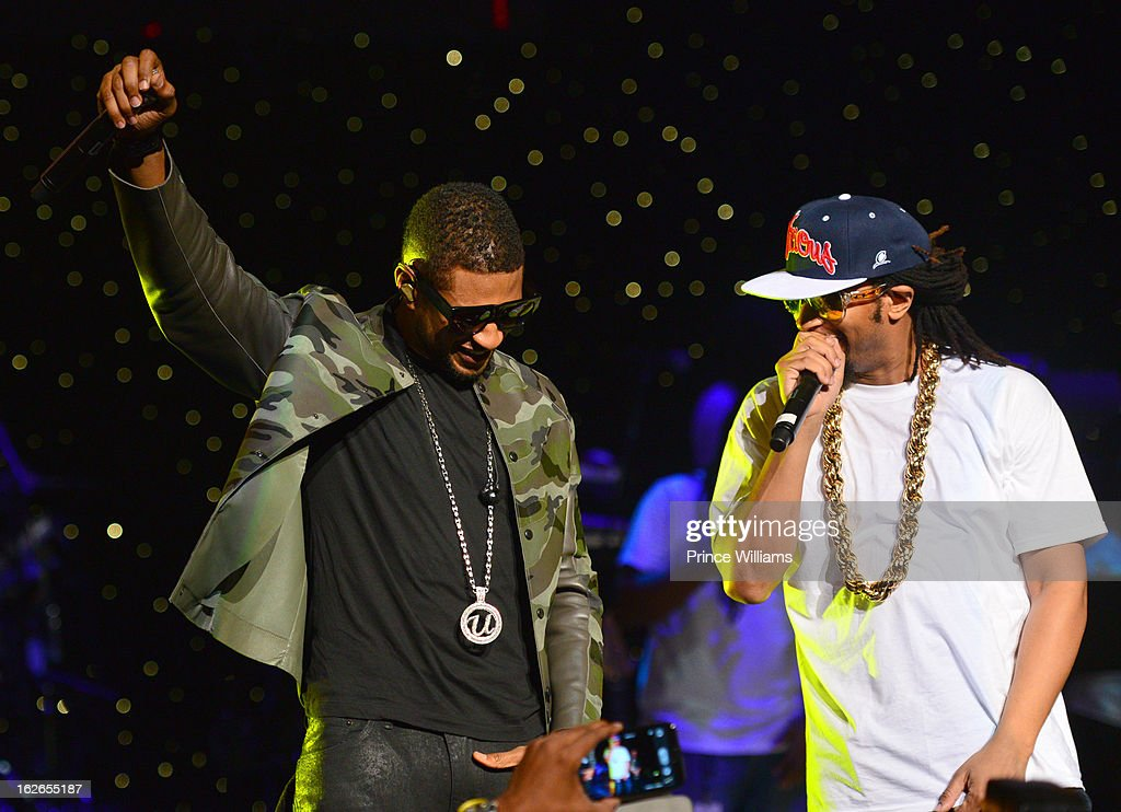 Usher and Lil Jon perform at the So So Def 20th anniversary concert at the Fox Theater on February 23, 2013 in Atlanta, Georgia.
