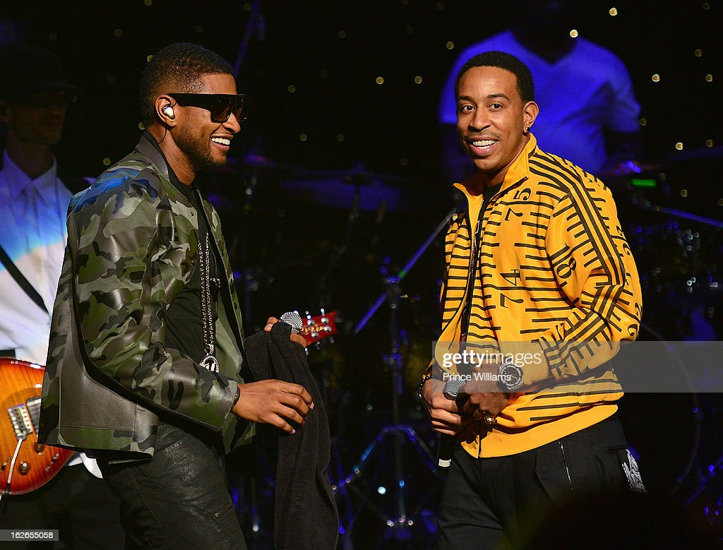 Usher and <a gi-track='captionPersonalityLinkClicked' href=/galleries/search?phrase=Ludacris&family=editorial&specificpeople=203034 ng-click='$event.stopPropagation()'>Ludacris</a> perform at the So So Def 20th anniversary concert at the Fox Theater on February 23, 2013 in Atlanta, Georgia.