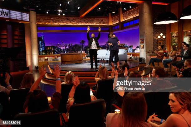 Usher and Luke Evans chat with James Corden during 'The Late Late Show with James Corden' Thursday October 12 2017 On The CBS Television Network