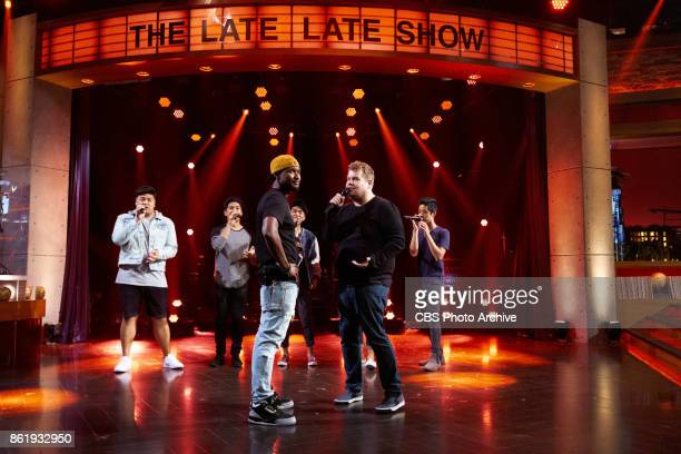 Usher and Luke Evans perform in a Riff Off with James Corden and The Filharmonic during 'The Late Late Show with James Corden' Thursday October 12...
