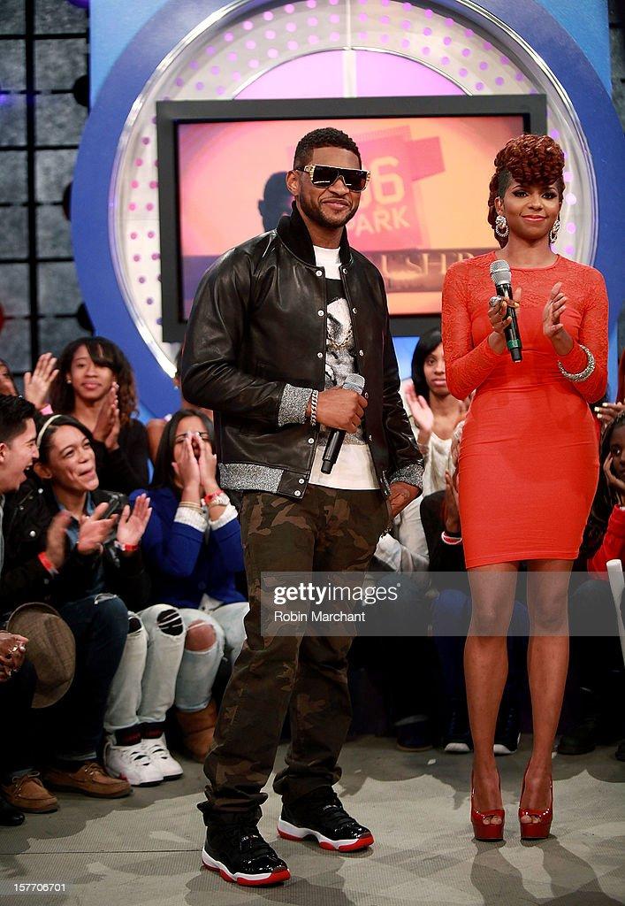 Usher (L) and Miss Mykie visit 106 & Park studio on December 5, 2012 in New York City.