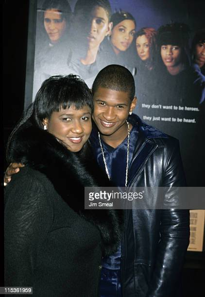 Usher and Mother Jonette Patton during Premiere of 'Light It Up' at Cinerama Dome Theatre in Hollywood California United States