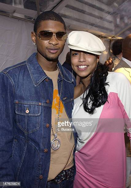 Usher and Natasha during 'Arista Reloaded' at the 2003 BMG US Label Presentations Reception at Bryant Park Grill in New York City New York United...