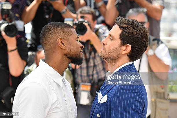 Usher and Roberto Duran and Edgar Ramirez attend the 'Hands Of Stone' Photocall at the annual 69th Cannes Film Festival at Palais des Festivals on...