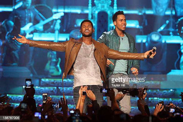 Usher and Romeo Santos perform 'Promise' as the encore at Madison Square Garden on February 11 2012 in New York City