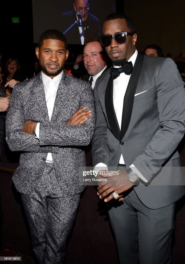 Usher and Sean 'Puffy' Combs attend the 55th Annual GRAMMY Awards Pre-GRAMMY Gala and Salute to Industry Icons honoring L.A. Reid held at The Beverly Hilton on February 9, 2013 in Los Angeles, California.