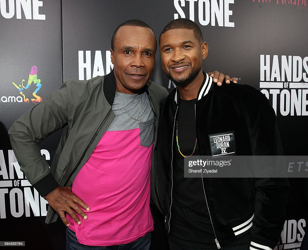 Usher and Sugar Ray Leonard attend Hands Of Stone Premiere With DeLeon Tequila at SVA Theater on August 22 2016 in New York City