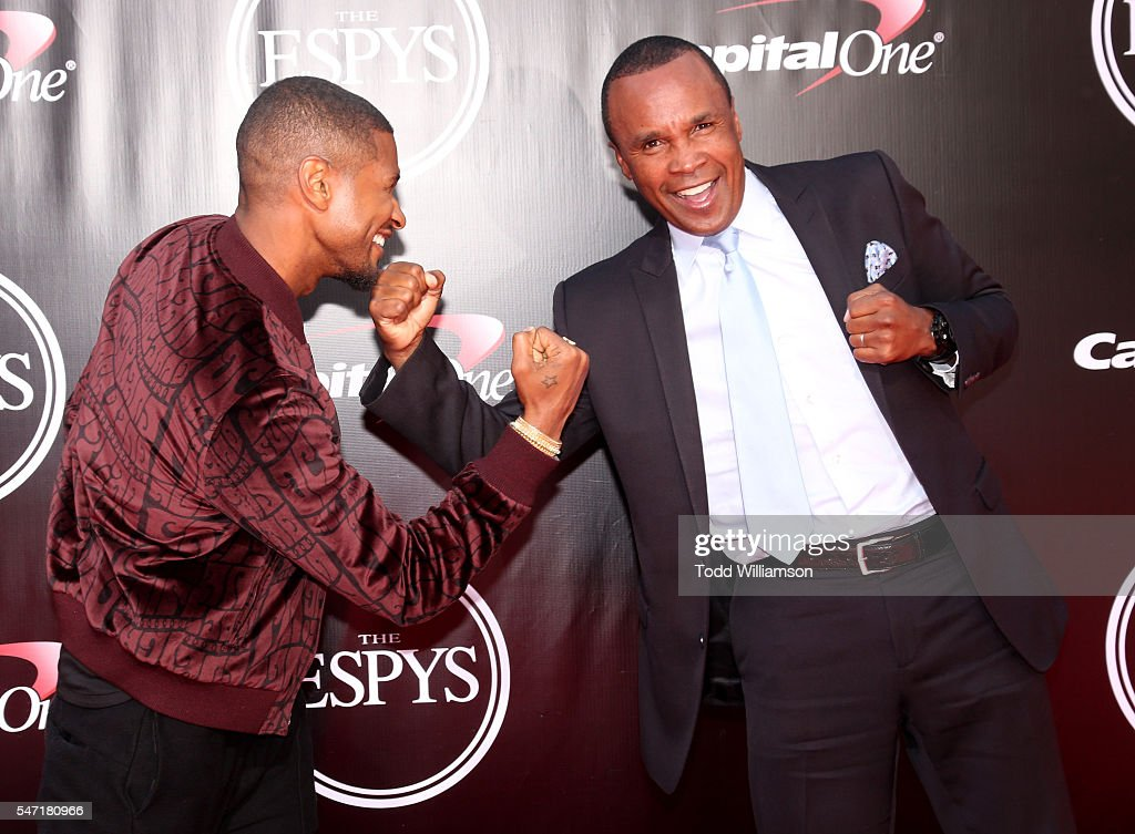 Usher and Sugar Ray Leonard attend The 2016 ESPYS at Microsoft Theater on July 13, 2016 in Los Angeles, California.