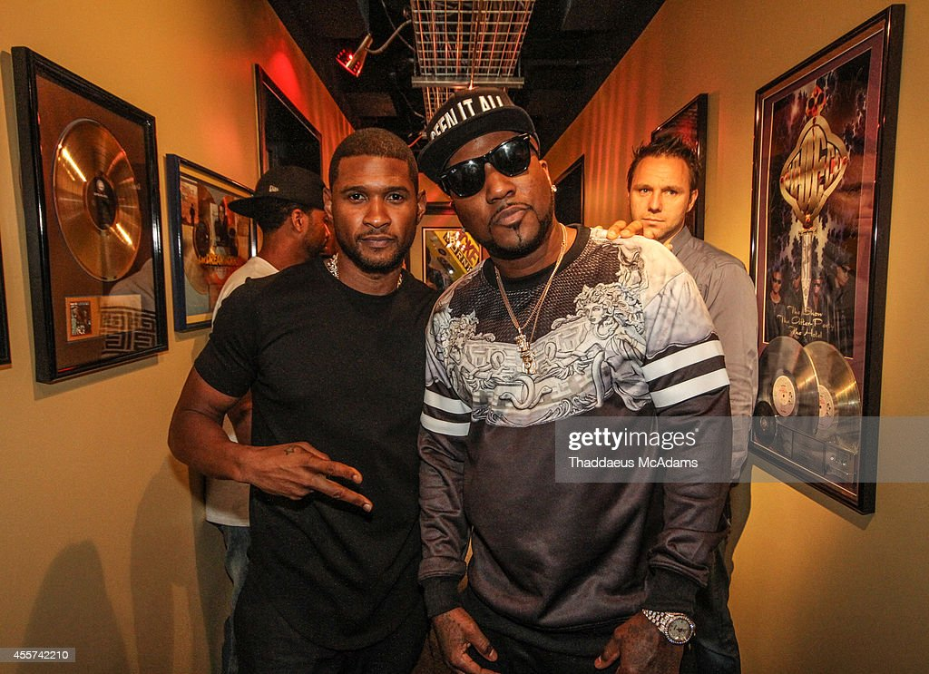Usher and Young Jeezy at Hot 1079 on September 5 2014 in Atlanta Georgia