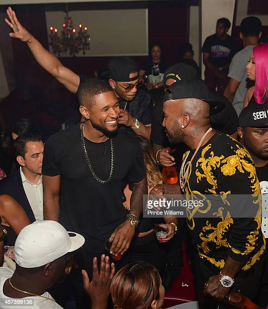 Usher and young Jeezy attend Hip Hop Awards Grande Finale Hosted by Jeezy Future at Velvet Room on September 21 2014 in Chamblee Georgia