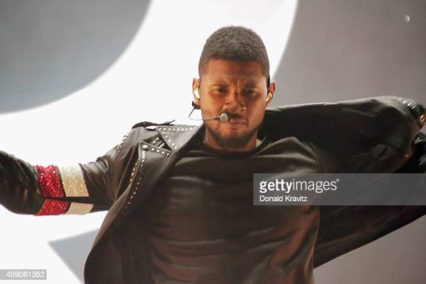 Usher appears in concert at Atlantic City Boardwalk Hall on November 15 2014 in Atlantic City New Jersey