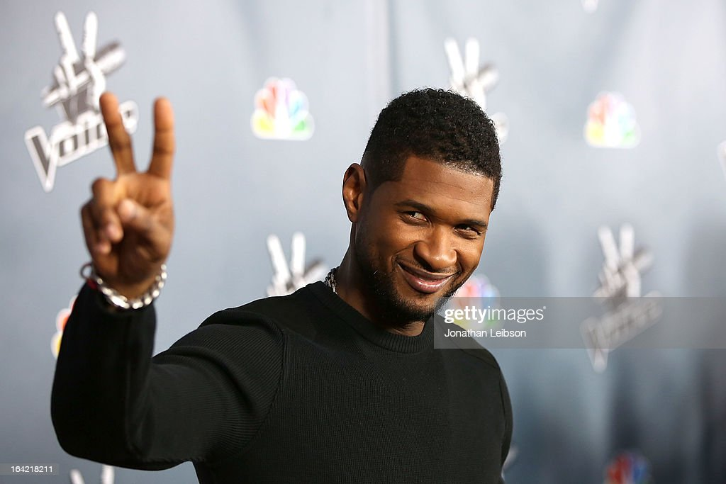 <a gi-track='captionPersonalityLinkClicked' href=/galleries/search?phrase=Usher+-+Singer&family=editorial&specificpeople=201477 ng-click='$event.stopPropagation()'>Usher</a> attends the NBC's 'The Voice' Season 4 Premiere at TCL Chinese Theatre on March 20, 2013 in Hollywood, California.