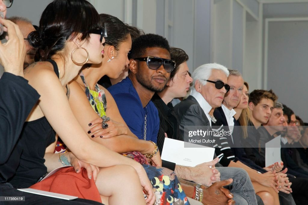 Usher, <a gi-track='captionPersonalityLinkClicked' href=/galleries/search?phrase=Benjamin+Biolay&family=editorial&specificpeople=4451581 ng-click='$event.stopPropagation()'>Benjamin Biolay</a> and Karl Lagerfeld attend the Dior Homme Menswear Spring/Summer 2012 show as part of Paris Fashion Week at on June 25, 2011 in Paris, France.