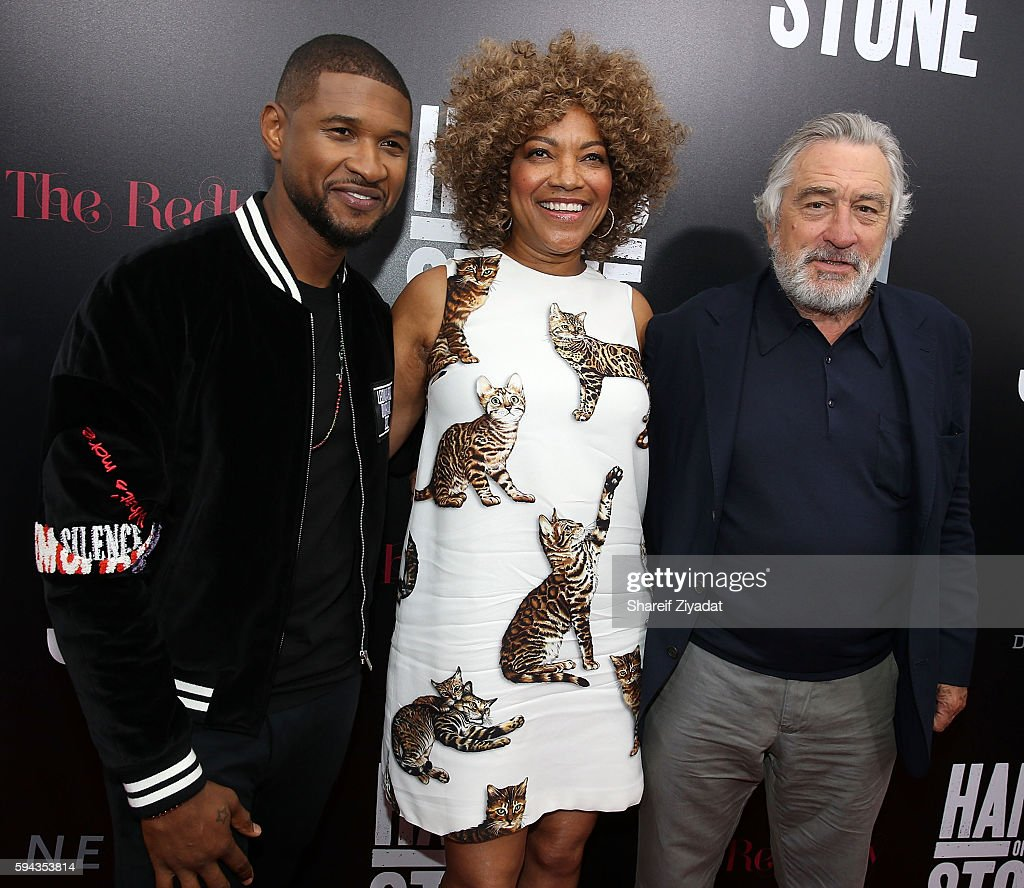 Usher Grace Hightower and Robert DeNiro attend Hands Of Stone Premiere With DeLeon Tequila at SVA Theater on August 22 2016 in New York City