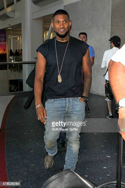Usher is seen at LAX on June 21 2015 in Los Angeles California