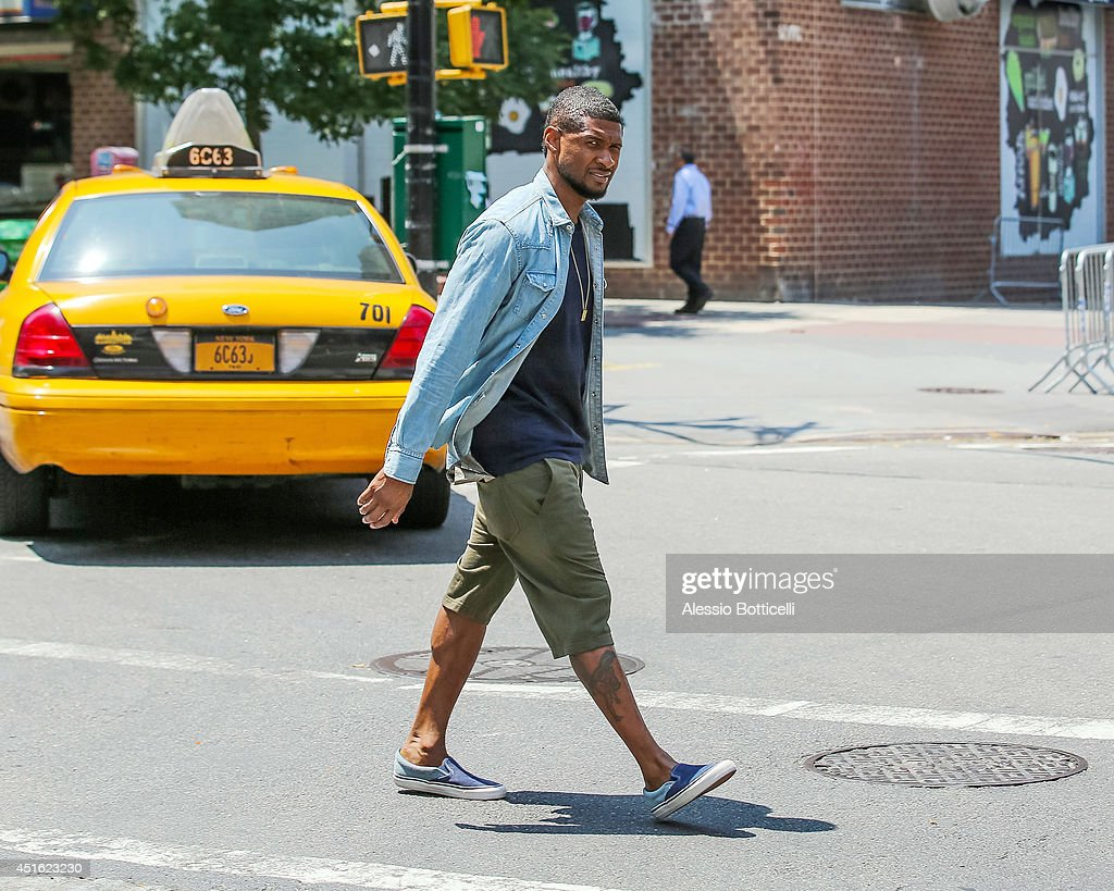 Usher is seen walking in TriBeCa on July 2, 2014 in New York City.