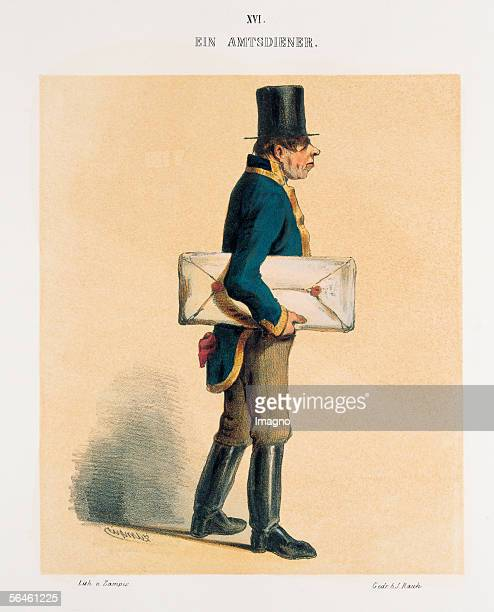 Usher Man with stove pipe hat blue uniform jacket and sealed parcel From Viennese characters in figurative illustrations Publisher LT Neumann Vienna...