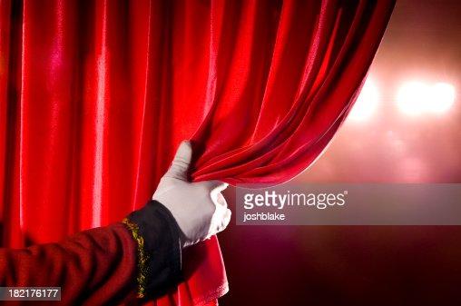 人気のカーテンオープニングレッドシアター、スポットライト