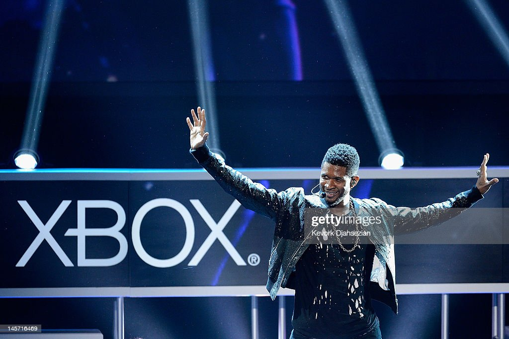 Usher performs as the game Dance Central 3 is introduced during the Microsoft Xbox press conference at the Electronic Entertainment Expo at the Galen Center on June 4, 2012 in Los Angeles, California. Thousands are expected to attend the annual three-day convention to see the latest games and announcements from the gaming industry.
