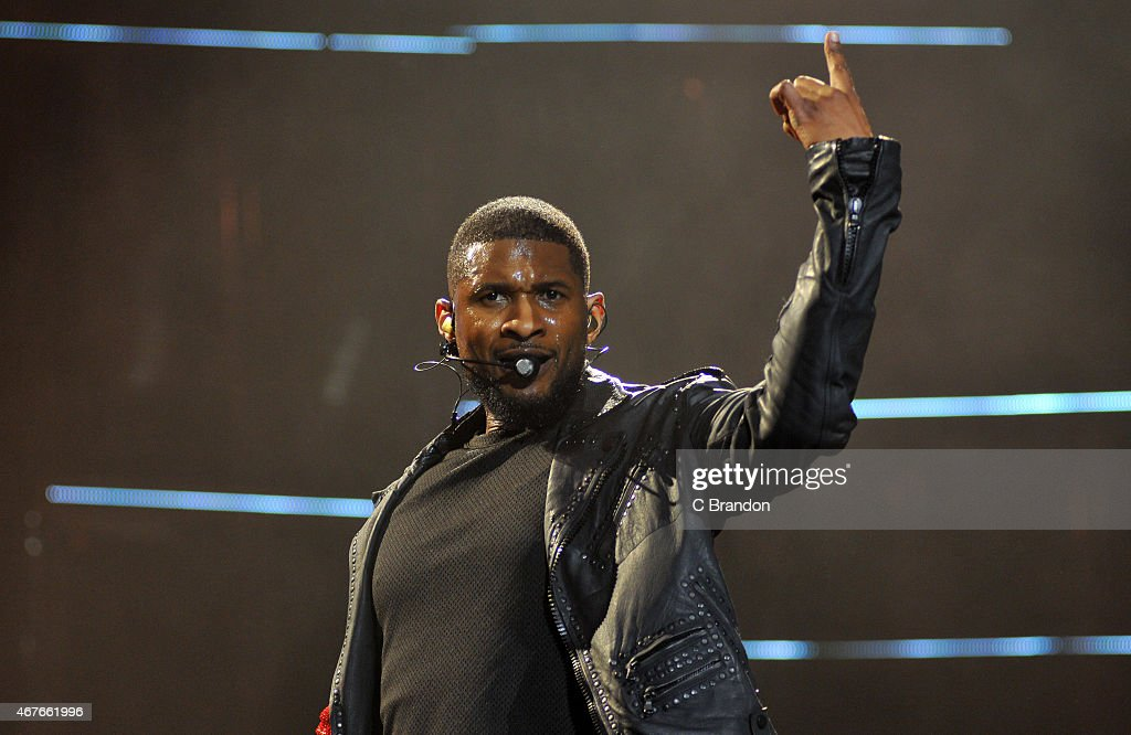 Usher performs on stage at The O2 Arena on March 26 2015 in London United Kingdom