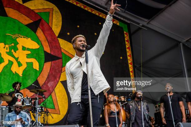 Usher performs with The Roots at the New Orleans Jazz Heritage Festival at Fair Grounds Race Course on April 29 2017 in New Orleans Louisiana