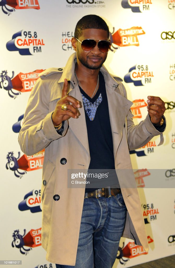Usher poses backstage at the Capital FM Summertime Ball at Wembley Stadium on June 6, 2010 in London, England.