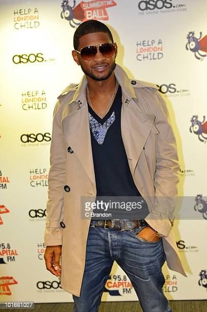 Usher poses backstage at the Capital FM Summertime Ball at Wembley Stadium on June 6 2010 in London England