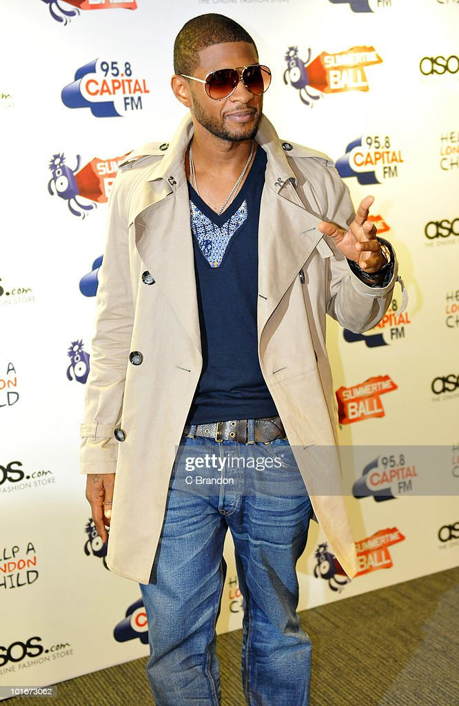 Usher posing backstage at the Capital FM Summertime Ball at Wembley Stadium on June 6, 2010 in London, England.