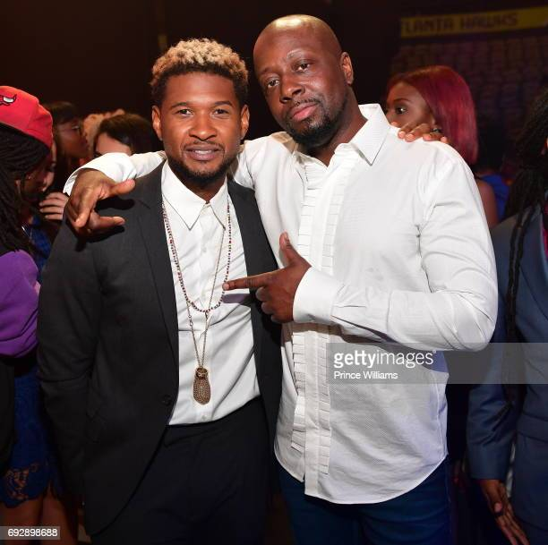 Usher Raymond and Wyclef Jean attend the 2017 Andrew Young International Leadership awards and 85th Birthday tribute at Philips Arena on June 3 2017...
