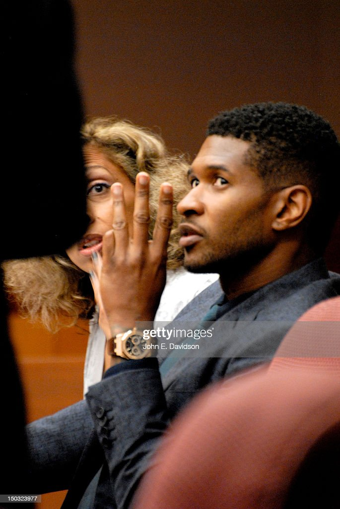 <a gi-track='captionPersonalityLinkClicked' href=/galleries/search?phrase=Usher+-+Singer&family=editorial&specificpeople=201477 ng-click='$event.stopPropagation()'>Usher</a> Raymond attends a hearing to discuss child custody with his ex-wife Tameka Foster at Fulton County State Court on August 15, 2012 in Atlanta, Georgia. <a gi-track='captionPersonalityLinkClicked' href=/galleries/search?phrase=Usher+-+Singer&family=editorial&specificpeople=201477 ng-click='$event.stopPropagation()'>Usher</a> and Tameka, who officially divorced in 2009, are fighting over custody of their two young sons.